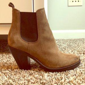 All Saints tan suede boots